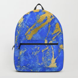 Sapphire and Royal Blue Marble With Gold Veins Backpack