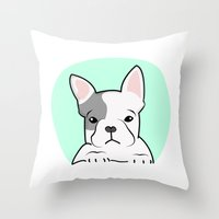 frenchie Throw Pillows featuring Frenchie by Pati Designs