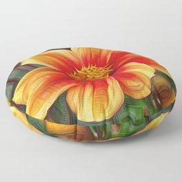 Orange Flower, DeepDream style Floor Pillow