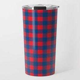 Plaid (red/blue) Travel Mug