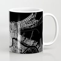 new orleans Mugs featuring New Orleans map by Line Line Lines