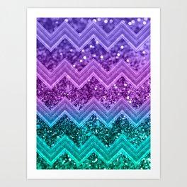 Unicorn Glitter Chevron #3 #shiny #decor #art #society6 Art Print