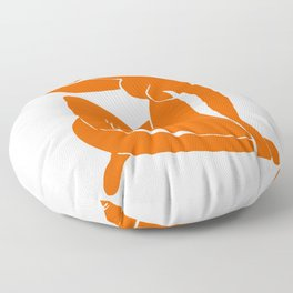 Orange Nude Girl Floor Pillow