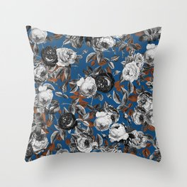 Black white roses copper classic blue Throw Pillow