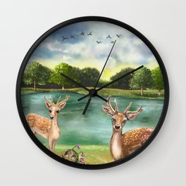 Quizzical Deer By Lake Wall Clock