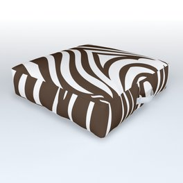 Zebra Stripes | Animal Print | Chocolate Brown and White | Outdoor Floor Cushion