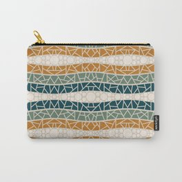 Mosaic Wavy Stripes in Blue-green, Terracotta and Olive Carry-All Pouch