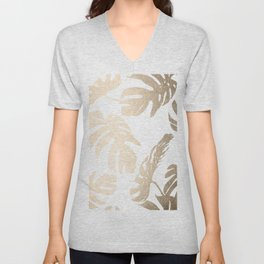 Simply Tropical Palm Leaves in White Gold Sands Unisex V-Neck