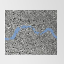 Map of London Thames Drawing Throw Blanket
