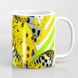 CONTEMPORARY GREY & YELLOW PATTERN BUTTERFLIES Coffee Mug