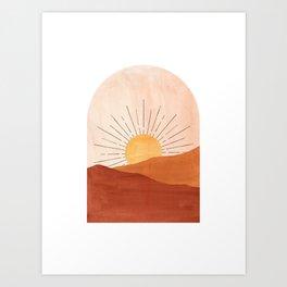 Abstract terracotta landscape, sun and desert Art Print
