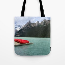 Lake Louise Red Canoes Tote Bag