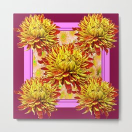Stylized Abstracted Burgundy Yellow Chrysanthemums Floral Metal Print