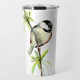 Chickadee on Willow, minimalist bird artwork chickadee painting Travel Mug