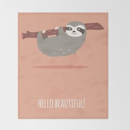 Sloth card - hello beautiful Throw Blanket
