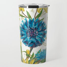 Seamless floral pattern with flowers and butterfly Travel Mug