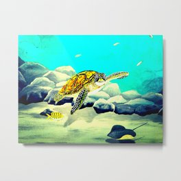 Colorful Sea Turtle Under The Blue Ocean Metal Print