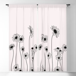 Daisy flowers illustration - Natural Blackout Curtain
