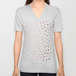 Rose Gold Pink Polka Splotch Dots on White Unisex V-Neck