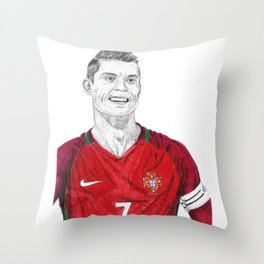 Cristiano Ronaldo Ballpoint Pen Drawing Throw Pillow