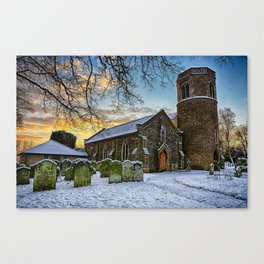 St Marys in the snow Canvas Print
