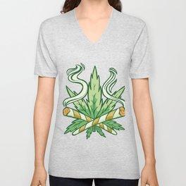 Marijuana mit Hanfzeichen Unisex V-Neck