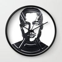 brad pitt Wall Clocks featuring Brad Pitt by Alejandro de Antonio Fernández