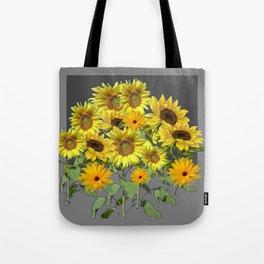 GREY YELLOW SUNFLOWER FIELD ART Tote Bag