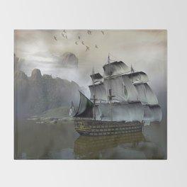 Old Sail Ship Throw Blanket