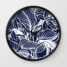 Indigo Navy Blue Floral Wall Clock