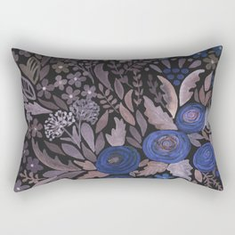 Watercolor blue flowers . The blue of the night . Rectangular Pillow