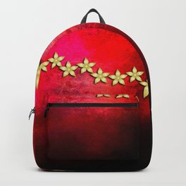 Spectacular gold flowers in red and black grunge texture Backpack
