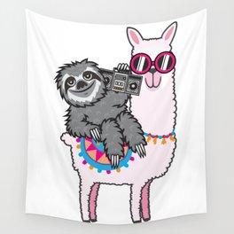 Sloth Music Llama Wall Tapestry