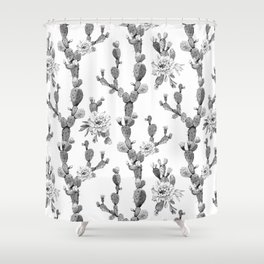 Cactus Rose Garden Stripe Black and White Shower Curtain