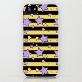 Purple stars on black and yellow striped iPhone Case