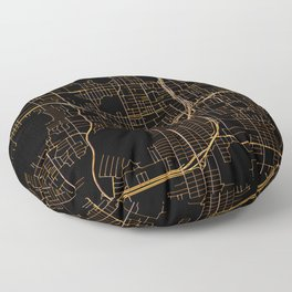 Black and gold Orlando map Floor Pillow