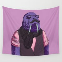 walrus Wall Tapestries featuring MR. WALRUS by Alex Alex