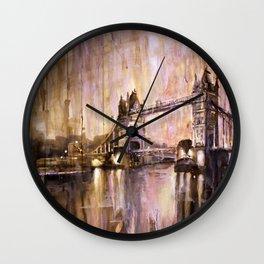 Watercolor painting of Tower Bridge at dusk- London, England Wall Clock