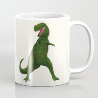 t rex Mugs featuring T Rex by Lydia Meiying