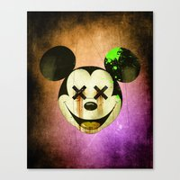 mickey Canvas Prints featuring Mickey by wrong planet