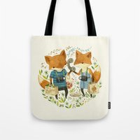 office Tote Bags featuring Fox Friends by Teagan White