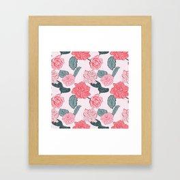 Roses and leaves Framed Art Print