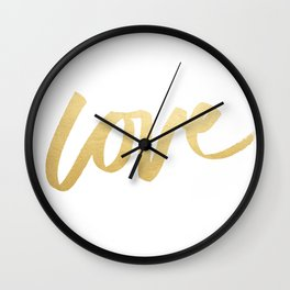 Love Gold White Type Wall Clock