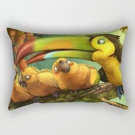 Toucan and Sun Conures : Jungle berries animal art painting birds feathers rain forest conservation Rectangular Pillow