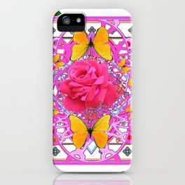 PINK ROSE FLOWERS  &  GOLDEN BUTTERFLIES GARDEN ART iPhone Case