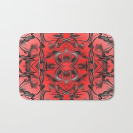 silver in red Digital pattern with circles and fractals artfully colored design for house Bath Mat