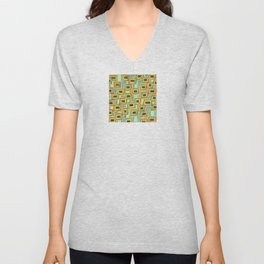 Connected Rectangle Shapes with Vertical Stripes Pattern Unisex V-Neck