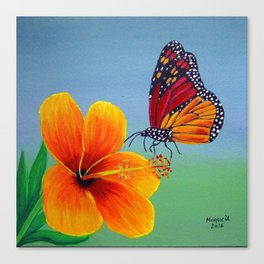 Lily with Butterfly Canvas Print