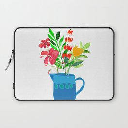 Red Flowers in Blue Pitcher Laptop Sleeve