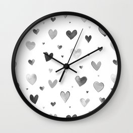LOVELY HEARTS IN GREY WATERCOLOR Wall Clock